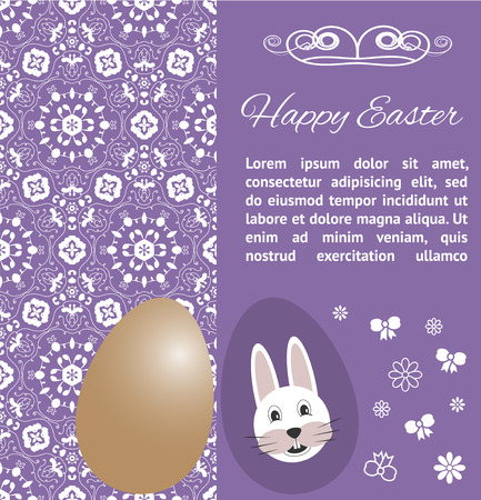 felicitation: Easter Card template with eggs and bunny