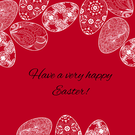 Easter card with a eggs on red bacground