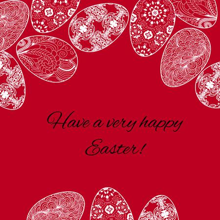 Tarjeta de Pascua con huevos en fundamento rojo