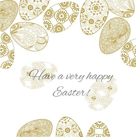 Tarjeta de Pascua con huevos de encaje decorado. Ilustración de vector