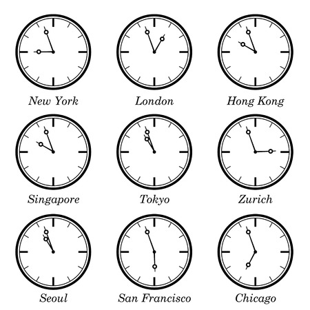 centers: Time difference in major worlds financial centers. EPS10