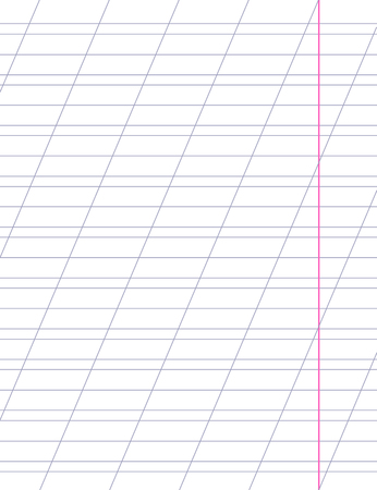 oblique line: sheet with slanted lines for learning writing