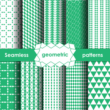 bluegreen: Geometric Seamless Patterns Set. Blue-green Textures on white