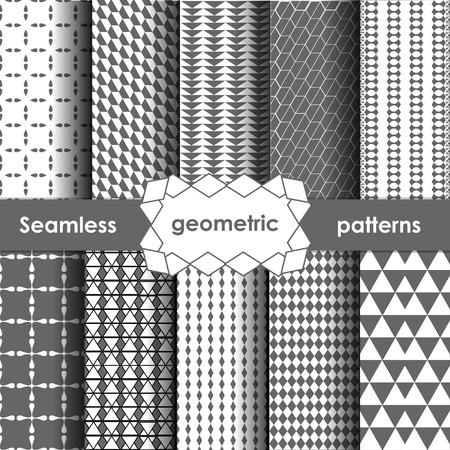 variant: Vector Geometric Seamless Patterns Set. Grey Textures on white. Variant 2 Illustration
