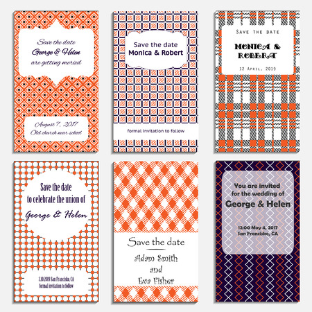 Save The Date, Wedding Invitation Card with orange checkered pattern