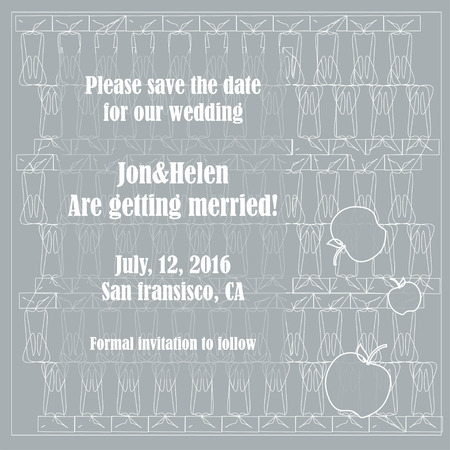 nuptial: save the date card template with apples Illustration