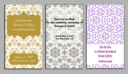 nuptial: Set of elegant wedding invitation or announcement template cards with lace ornament