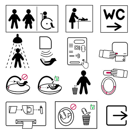 Toilet icons, bath and changing room. How to wash and dry hands, machine to buy pads, tampons, and condoms, hygienic toilet seat with a mechanism for changing disposable covers, bags for sanitary pads