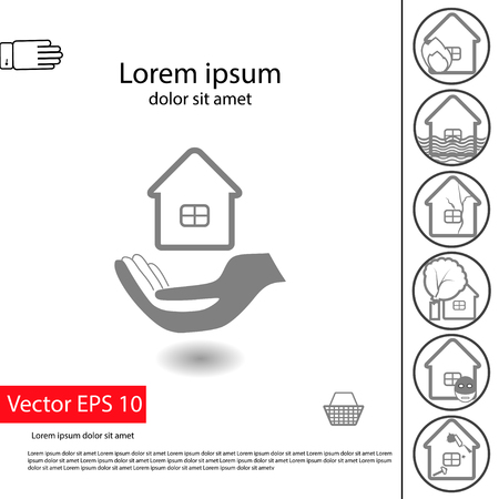 Property insurance icon and illustration of insurance claims