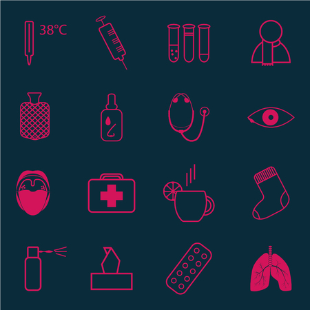 cough syrup: Set of medical icons on the theme of cold on dark background