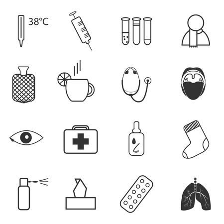 tonsillitis: Set of simple medical icons about common cold and treatment