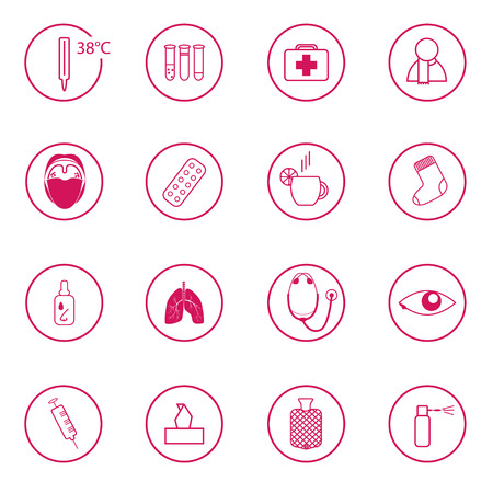 tonsillitis: set of 16 pink medical signs related to common cold