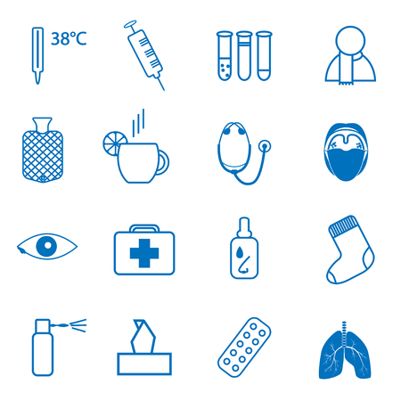 cough syrup: Set blue icons on the medical theme, and treatment of the common cold Illustration