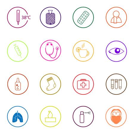 warmer: Set of colorful medical icons in flat design Illustration