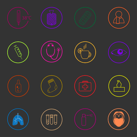 warmer: Medic colorful icons set on dark background. Treatment of cold and flu