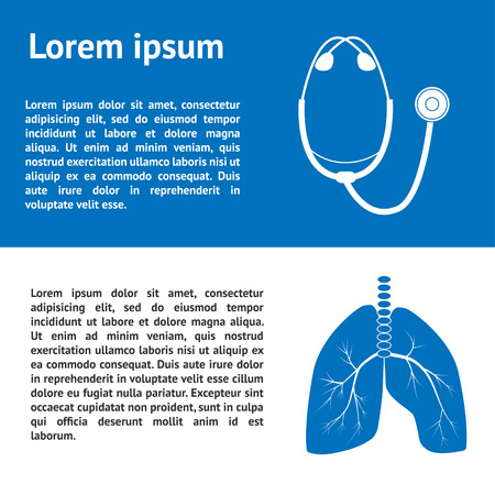 bronchial asthma: Medical template design  with images of human lungs and stethoscope and place for text. Can be used for brochure, banner, presentation, poster, cover, booklet, document.