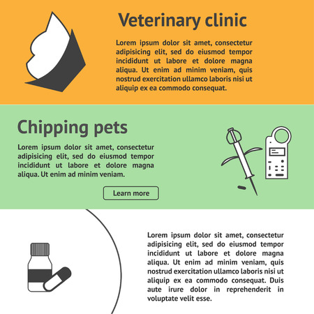 chipping: Veterinary banners set template with vet clinic pet care Illustration