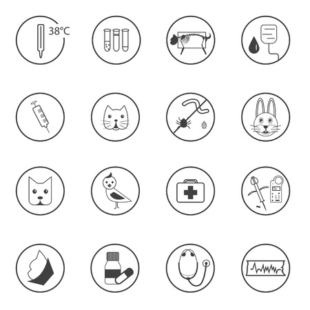 chipping: A set of flat icons pets of Veterinary with different animals