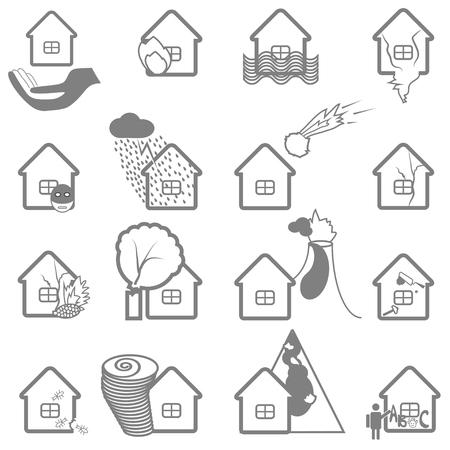 subsidence: Property insurance icon set. Protection symbol and illustration of insurance claims. Illustration