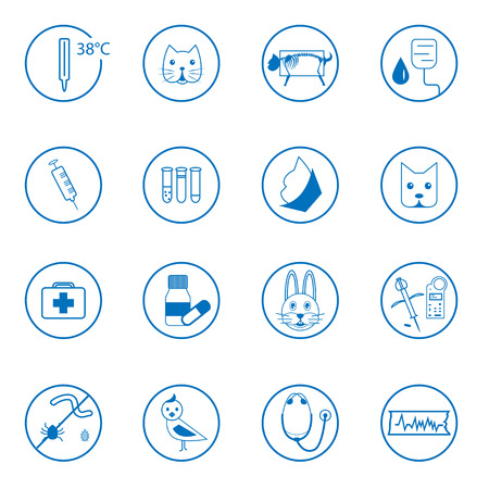 animals x ray: Collection of flat blue simple vet icons Illustration