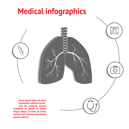 cross bar: Lungs Medical Infographic Template with space for text