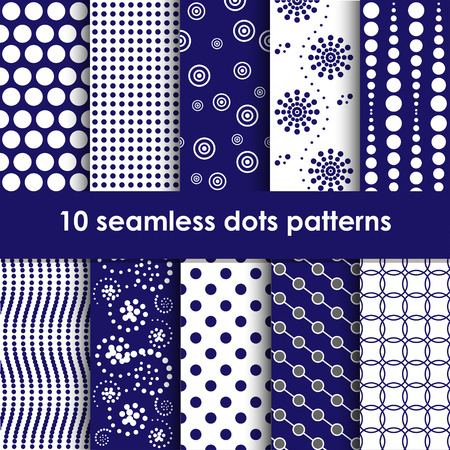 retry: Dots seamless patterns collection in blue and white
