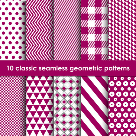 bordo: Classic patterns. Set of 10 vinous geometric seamless patterns. May be used as background, backdrop, invitation card etc.