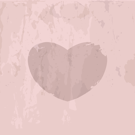 threadbare: Vintage background with heart icon. Heart icon can be used for web  design or card. Old-fashioned design element. Retro object. Vintage threadbare symbol
