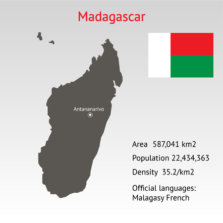 shilouette: Maps of Madagascar with flag and info about country