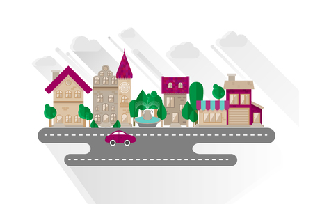 town hall: Small town urban landscape in flat design style, vector illustration. Buildings, street with car, grocery, apartment house, town hall Illustration