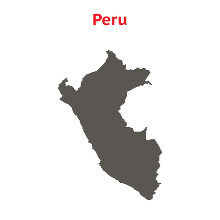 republic of peru: Gray vector map Peru. Isolated on white background. Illustration with an inscription Peru.