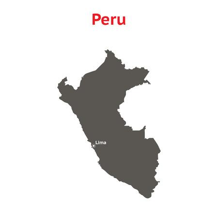 mapa del peru: Mapa del vector gris Per�. Aislado en el fondo blanco. Ilustraci�n con una inscripci�n Per�.