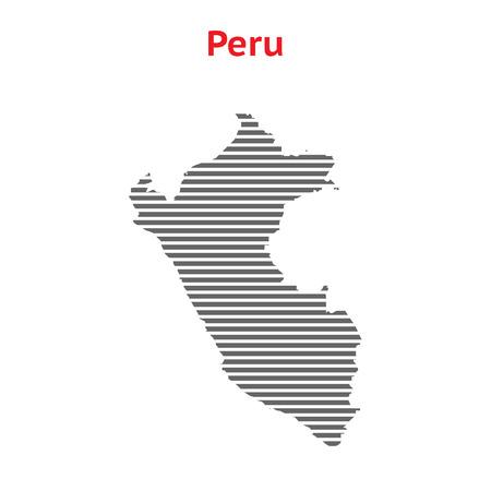 mapa del peru: Mapa del vector gris Perú. Mapa realizado a partir de rayas, aislado en fondo blanco. Ilustración EPS con una inscripción Perú.