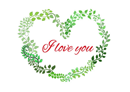 upmarket: I Love You text placed in a frame in heart shape from woven leaves Illustration