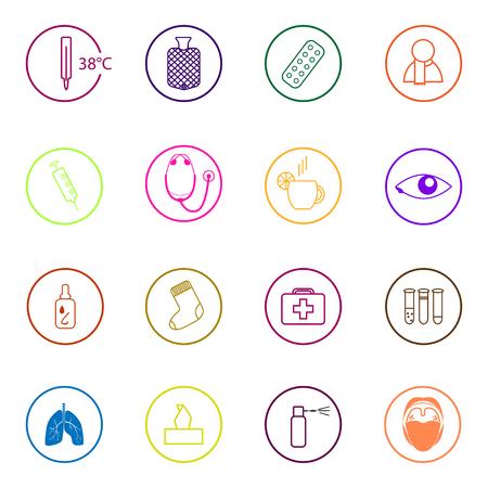 medics: Set of colorful medical icons in flat design Illustration