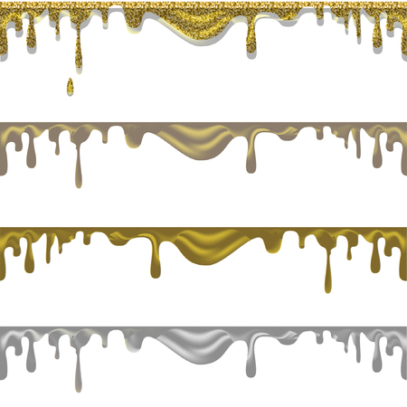 liquid gold: liquid gold, flowing golden and silver paint. Vector Illustration