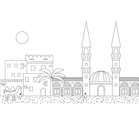 minaret: Islamic outline cityscape with houses, mosque and minaret. Mosques and minarets horizontal patterns. Vector illustration