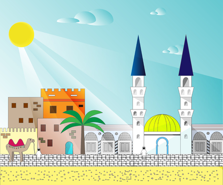 minarets: Islamic colorful cityscape with houses, mosque and minaret. Mosques and minarets horizontal patterns. Vector illustration Illustration