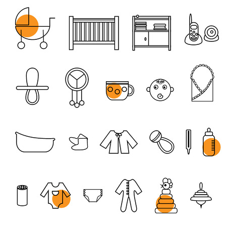 diaper changing table: Outline flat web icon set. Baby equpment, toys, feeding and care