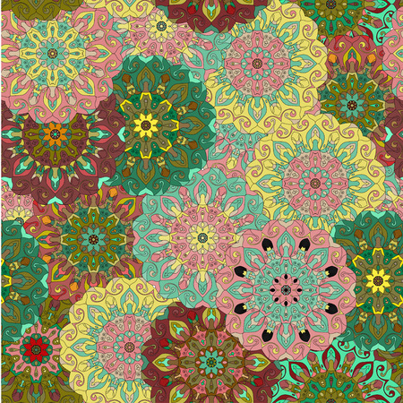 ottoman fabric: Seamless pattern. Vintage decorative elements. Islam, Arabic, Indian, ottoman motifs. Perfect for printing on fabric or paper. Can be used for greeting card or booklet background Illustration