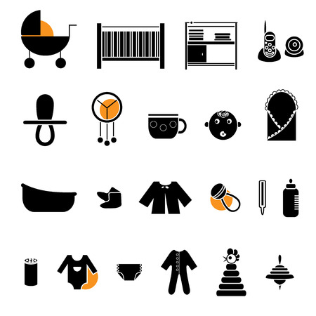 bootees: Flat web icon set. Baby equpment, toys, feeding and care