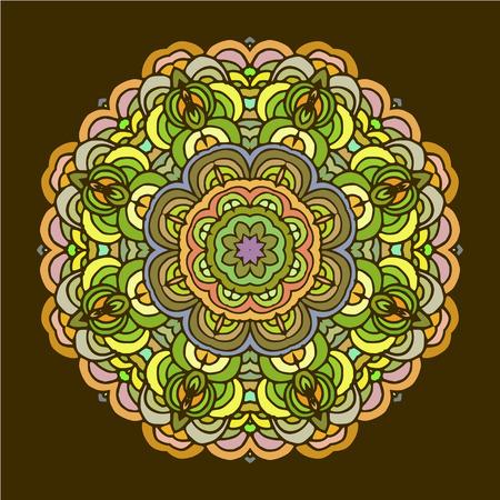 wallpapper: Hand drawn mandala colorful arabic template. Orient colorful motif good for design cards, wallpapper, booklets etc. Illustration