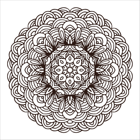 Hand drawn mandala colorful. Geometric round motive for design, invitation cards and elements for yoga etc.