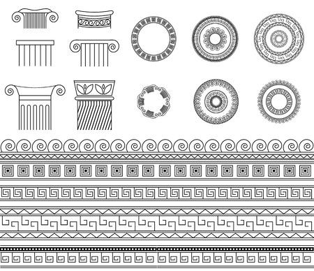 doric: Greek ethnic traditional meander border set. Vector antique frame and column pack. Decoration element seamless patterns in black and white colors. Illustration