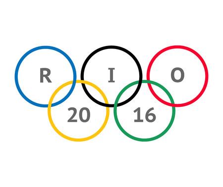deportes olimpicos: Mosc�, Rusia - 2 de mayo, 2016. La anillos ol�mpicos inscribe dentro de RIO 2016 Editorial