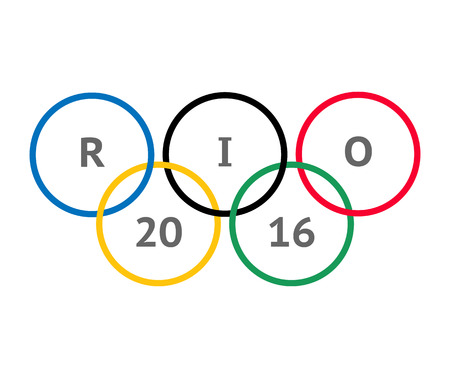 the olympic rings: Moscow, Russia - MAY 2, 2016. The Olympic rings inscribed inside RIO 2016 Editorial