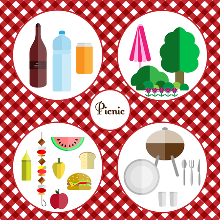 picnic food: picnic icon set with four components of a picnic: food, drinks, utensils and grill, nature placed on a tablecloth for a picnic