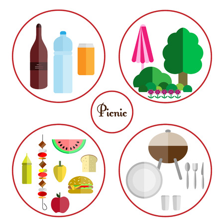 picnic food: picnic icon set with four components of a picnic: food, drinks, utensils and grill, nature, isolated on white background