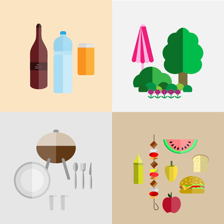picnic food: picnic icon set with four components of a picnic: food, drinks, utensils and grill, nature
