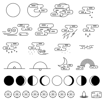 partly sunny: Weather Icons collection and the phases of the moon. Outline modern style. Monochrome icons